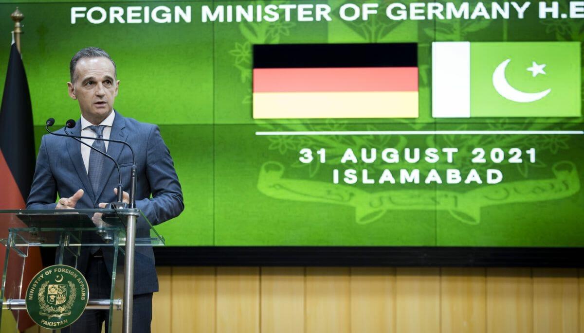 Deutschlands Außenminister Heiko Maas bei seiner Pressekonferenz in Pakistan
