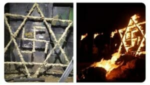 Palästinenser demonstrierten mit Hakenkreuz und Davidstern gegen jüdische Siedlung