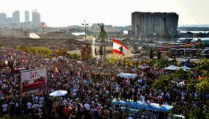 Gedenkveranstalung zum ersten Jahrestag der Explosion im Beiruter Hafen