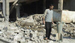 Überbleibsel einer Streubombe des syrischen Regimes