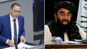AfD-Vorsitzender Tino Chrupalla, Taliban-Sprecher Zabihullah Mujahid