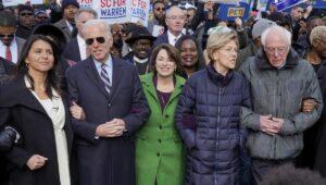Tulsi Gabbard (li.) mit Joe Biden, Amy Klobuchar, Elizabeth Warren und Bernie Sanders beim Martin-Luther-King-Marsch