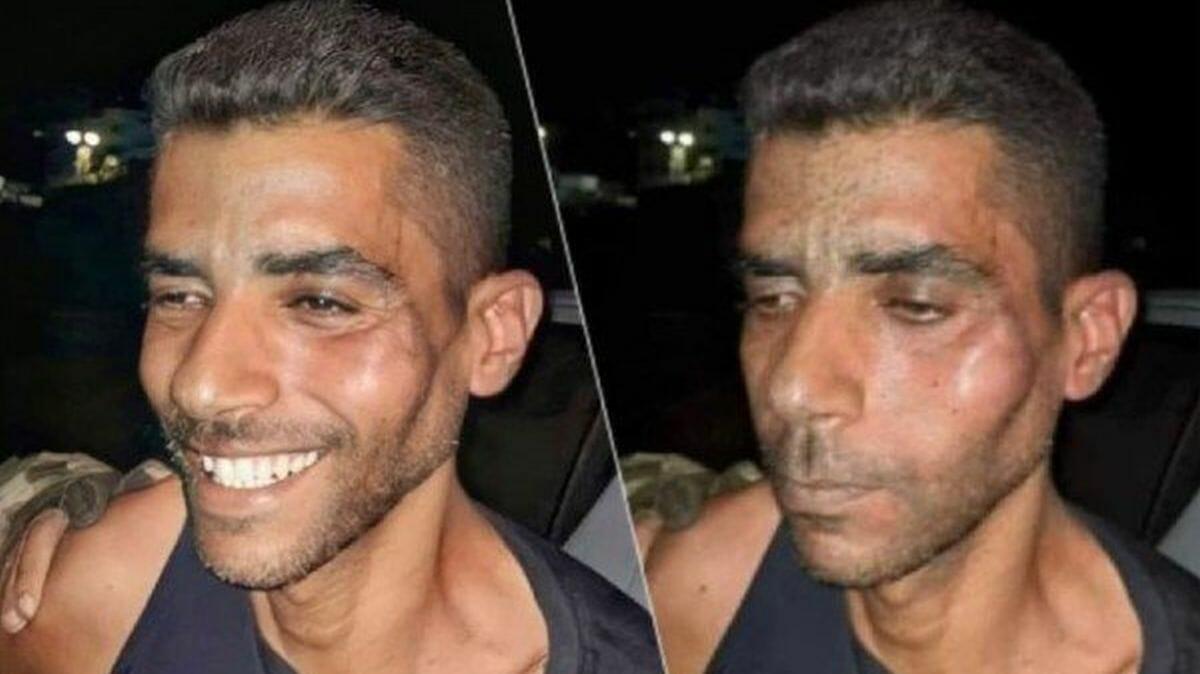 Zakaria Zubeidi bei Verhaftung: gefälschtes Bild (li.) und Original (re.)