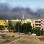Khartum, die Hauptstadt des Sudan, am Tag des Putsches. (© imago images/Xinhua)