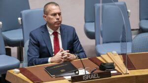 Der israelische UNO-Botschafter Gilad Erdan bei der Sicherheitsratssitzung
