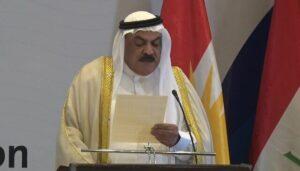 Der sunnitische Stammesführer Wisam al-Hardan bei seiner Rede auf der Friedenskonferenz