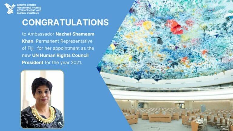 Die Präsidentin des Menschenrechtsrates der Vereinten Nationen (UNHRC), Nazhat Shameem Khan