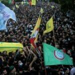 Hisbollah- und Amal-Anhänger beim Begräbnis der vergangene Woche in Beirut Getöteten