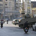 Im Beiruter Tayouneh-Viertel, wo die Gewalt vergangene Woche ausbrach, stationierte libanesische Armee
