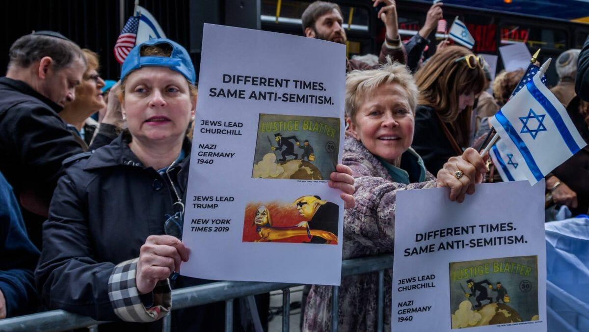 Demonstration gegen die 2019 veröffentlichte antisemitische Karikatur der New York Times